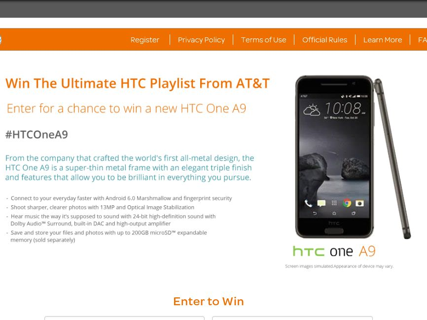 The AT&T HTC One A9 Giveaway Sweepstakes