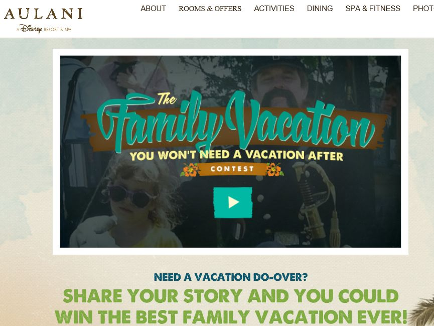 The Aulani Family Vacation You Won't Need a Vacation After Contest