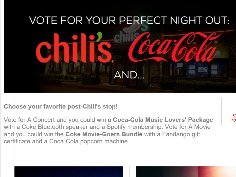 The Chili's and Coca-Cola Movie Goers vs. Music Lovers Sweepstakes