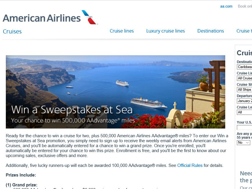 """American Airlines """"Win a Sweepstakes at Sea"""" Sweepstakes"""