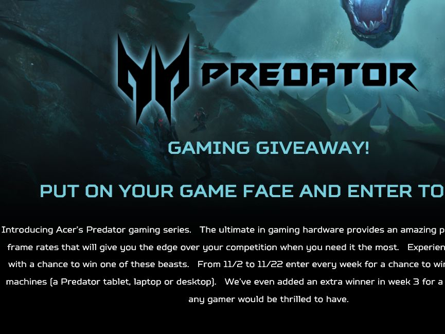 Acer Predator Gaming Sweepstakes