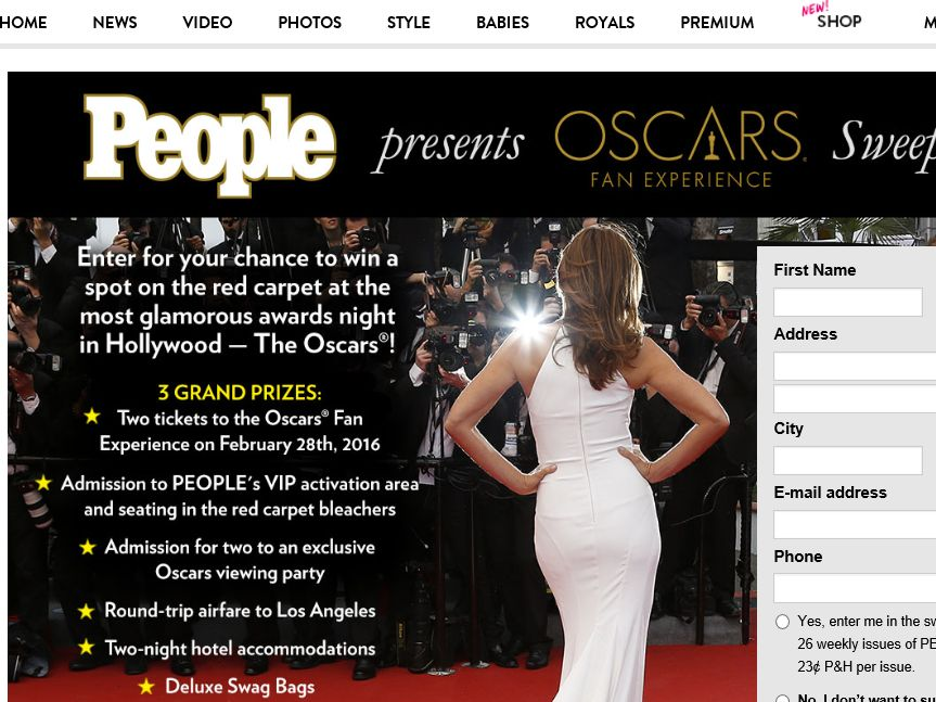 The PEOPLE's Oscars Fan Experience 2016 Sweepstakes