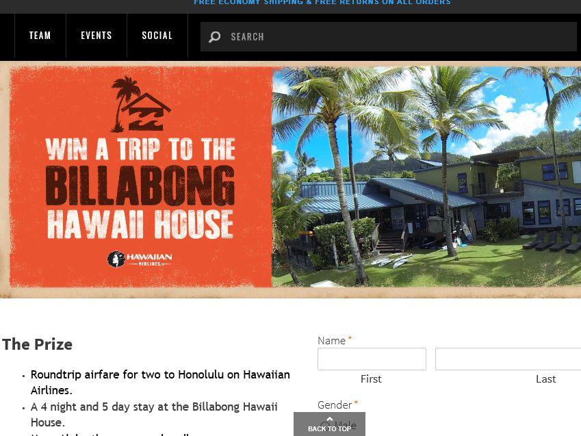 Billabong's Hawaii House Sweepstakes