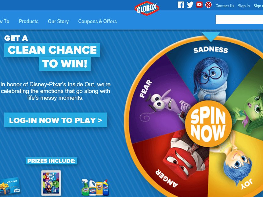 "Clorox Pixar ""Inside Out"" DVD Instant Win Game"