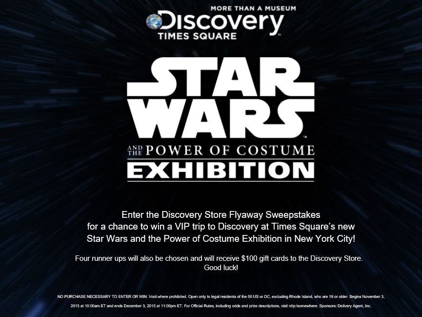 The Discovery Store Flyaway Sweepstakes