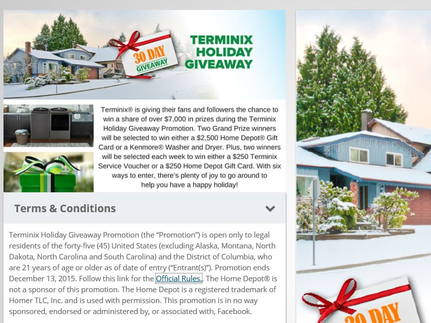 Terminix Holiday Giveaway Promotion