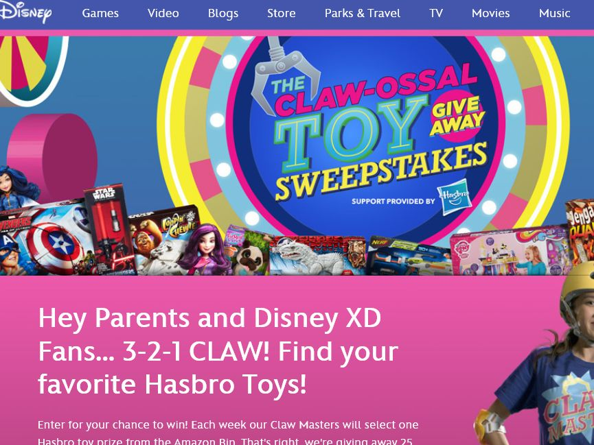 The Disney Claw-Ossal Toy Giveaway Sweepstakes