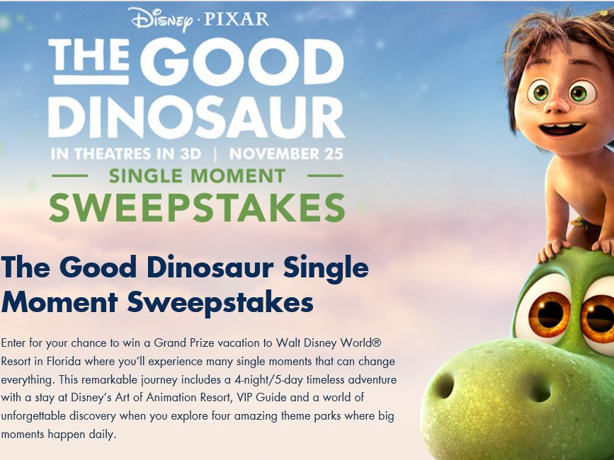 The Disney's Good Dinosaur Single Moment Sweepstakes