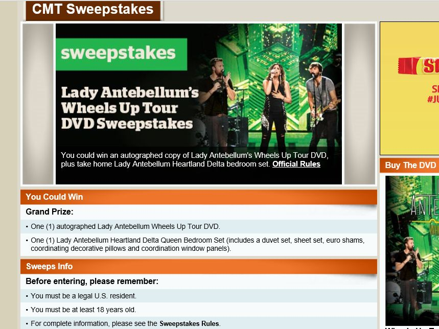 CMT Lady Antebellum's Wheels Up Tour DVD Sweepstakes