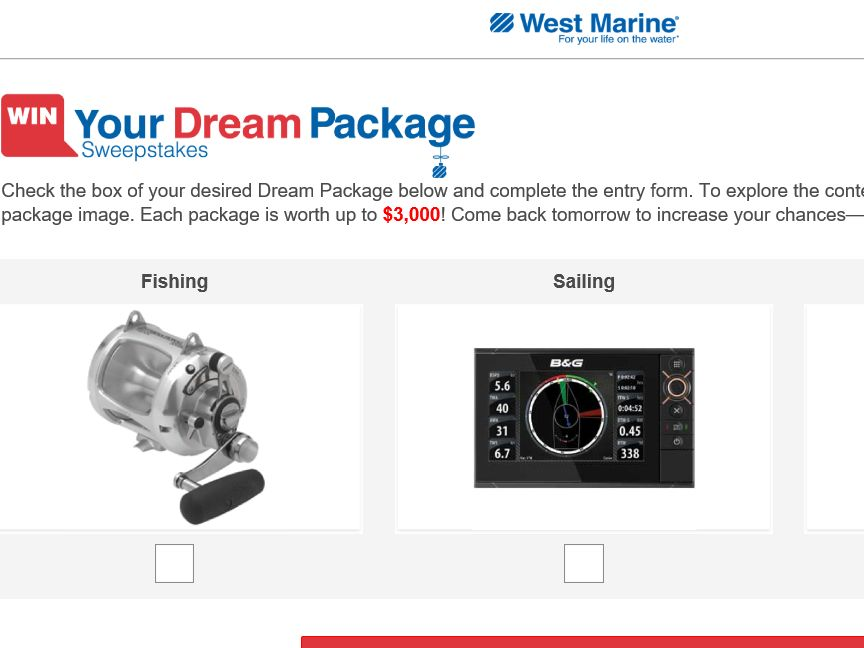 """The West Marine """"Win Your Dream Package"""" Sweepstakes"""