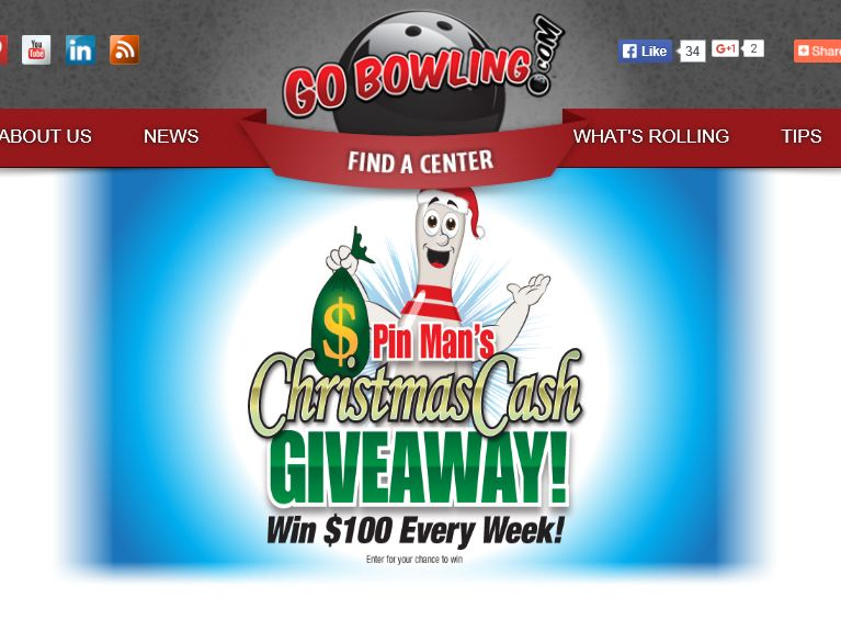 """GoBowling.com """"Pin Man's Christmas Cash"""" Giveaway Sweepstakes"""