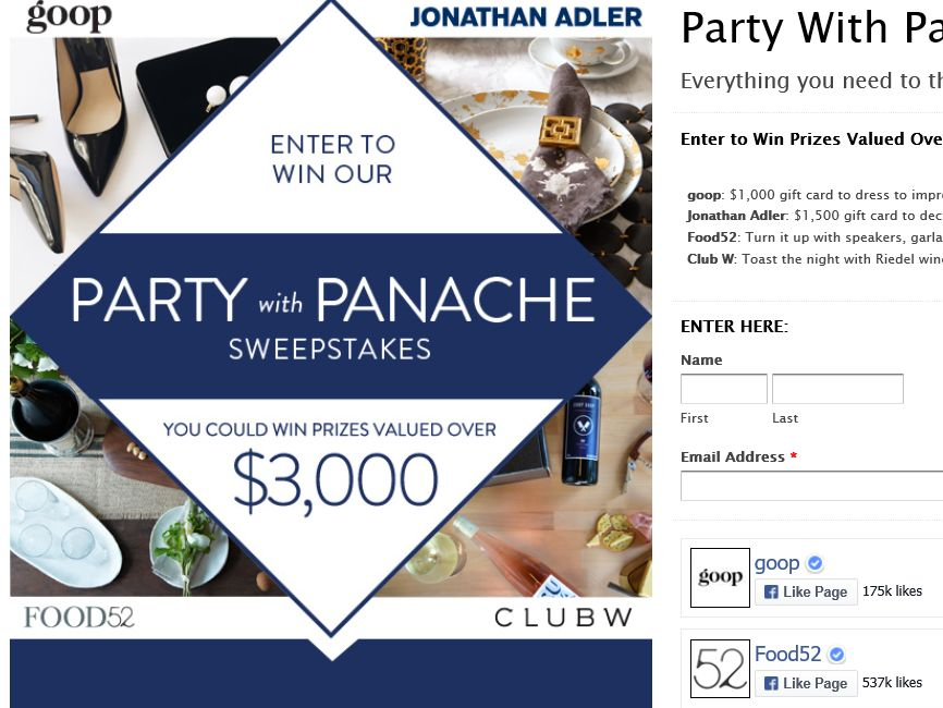 """The Jonathan Adler """"Party with Panache"""" Sweepstakes"""