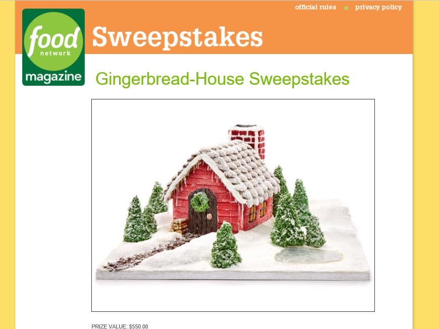 Food Network Magazine Gingerbread-House Sweepstakes