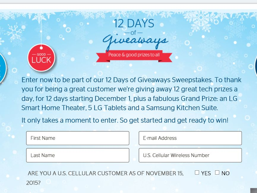 """The U.S. Cellular """"12 Days of Giveaways"""" Sweepstakes"""