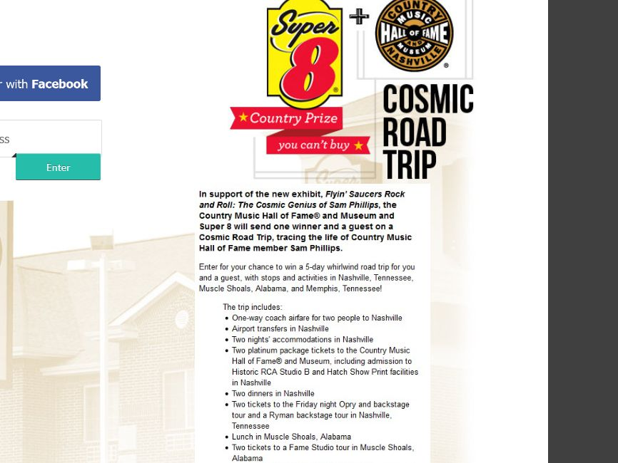 The Country Music Hall of Fame and Museum Cosmic Road Trip – Country Prize You Can't Buy Sweepstakes