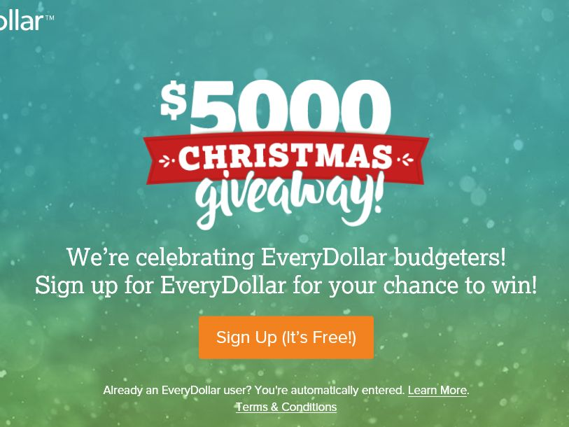 The Every Dollar Christmas Giveaway Sweepstakes