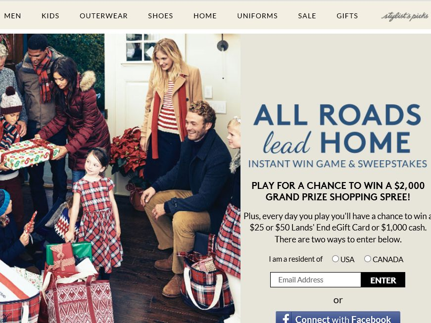 Land's End ALL ROADS LEAD HOME Sweepstakes