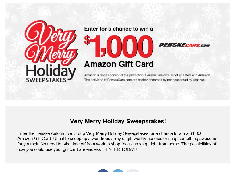 The  Penske 'Very   Merry  Holiday'  Sweepstakes