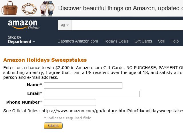 The Amazon.com Holiday Sweepstakes