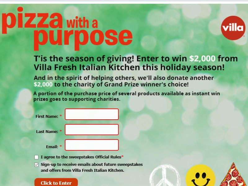 "The Villa Fresh Italian Kitchen ""Peace, Joy and Pizza"" Sweepstakes"
