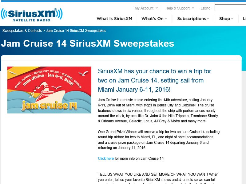 SiriusXM Jam Cruise 14 Sweepstakes