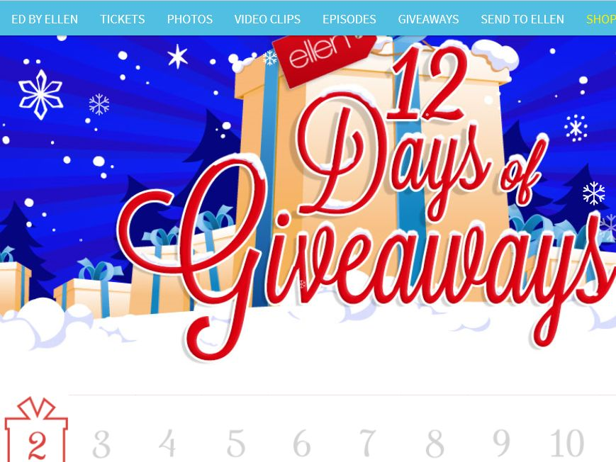 Ellens 12 days of christmas giveaway winners images