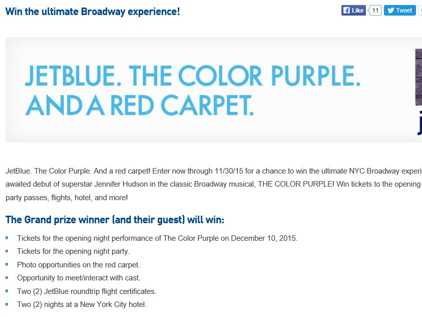 The JetBlue Color Purple Sweepstakes