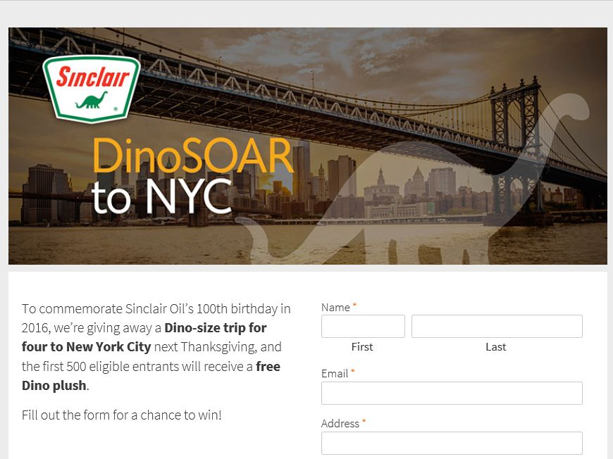 "Sinclair Oil ""DinoSOAR to NYC"" Sweepstakes"