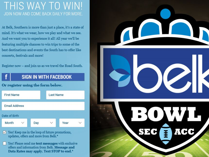 The Road South – Belk Bowl Sweepstakes