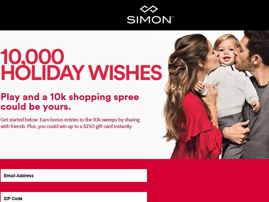 Simon 10,000 Holiday Wishes Sweepstakes