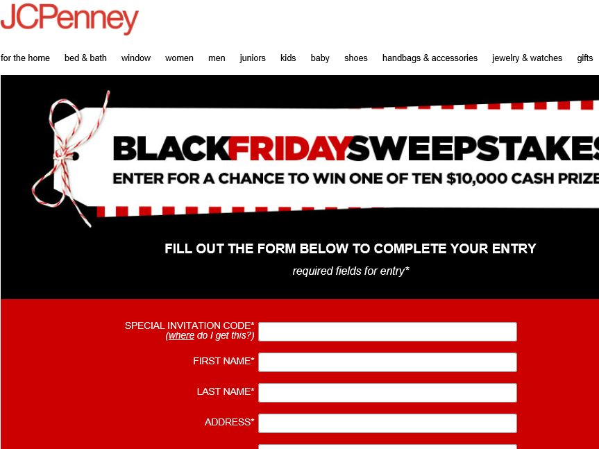 The JCPenney Black Friday Sweepstakes