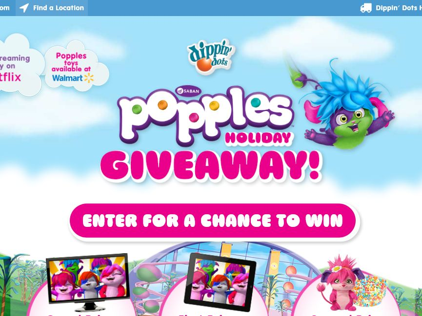 The DIPPIN' DOTS Popples Holiday Giveaway Sweepstakes