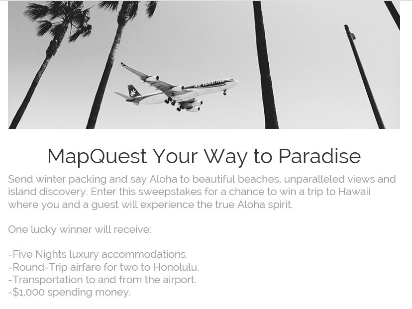 """The MapQuest """"MapQuest Your Way to Paradise"""" Sweepstakes"""