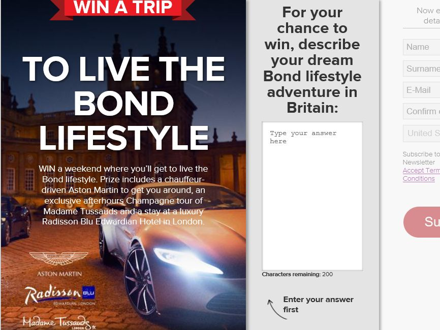 VisitBritain – Live The Bond Lifestyle Sweepstakes