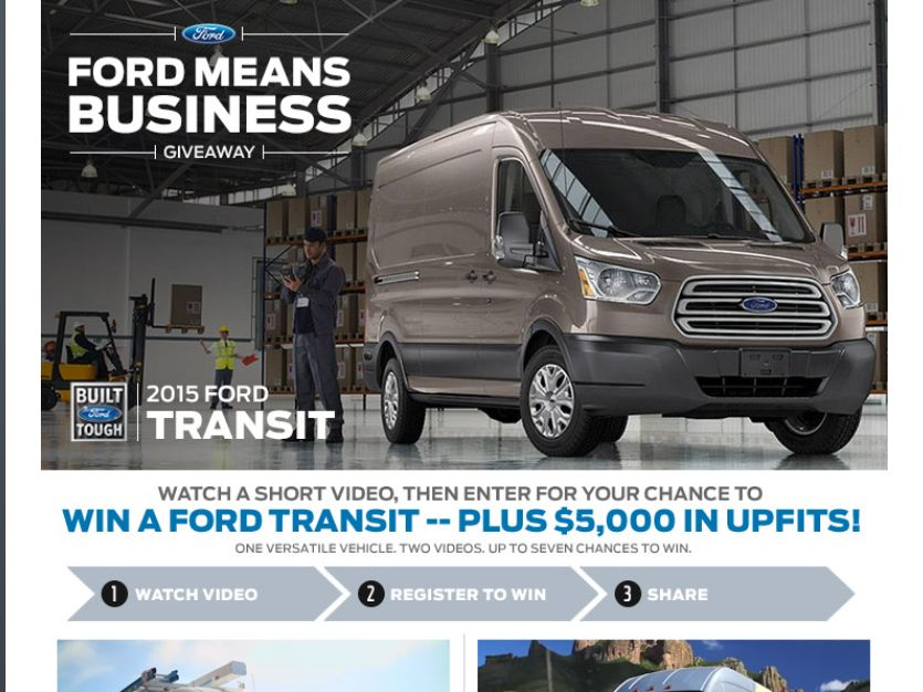 The Ford Means Business Giveaway Sweepstakes
