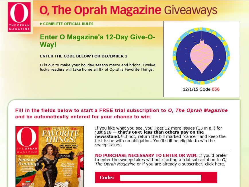 O magazine favorite things sweepstakes