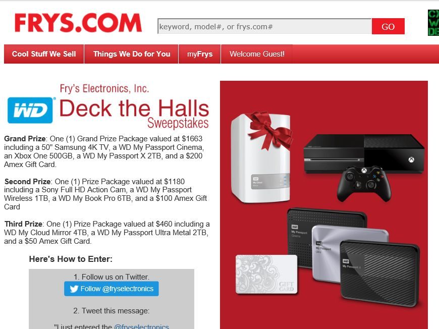 Fry's Electronics, Inc. WD Deck the Halls Sweepstakes