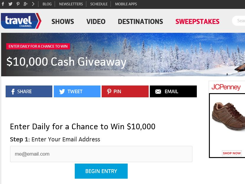Travel Channel December 2015 Sweepstakes
