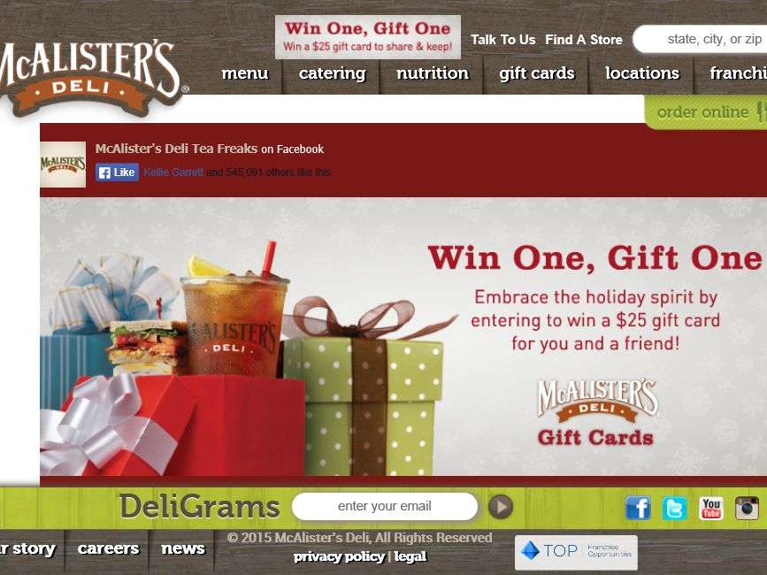 McAlister's Deli Win One, Gift One Sweepstakes