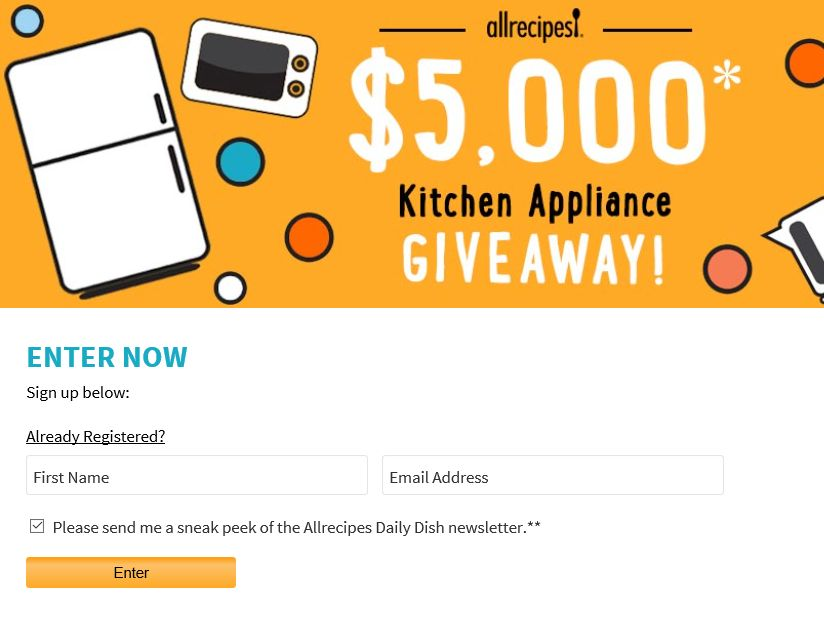 AllRecipes $5,000 Kitchen Appliance Giveaway Sweepstakes