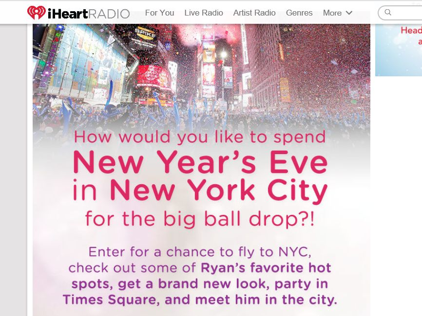 iHeartRadio New Year's Eve in NYC Sweepstakes