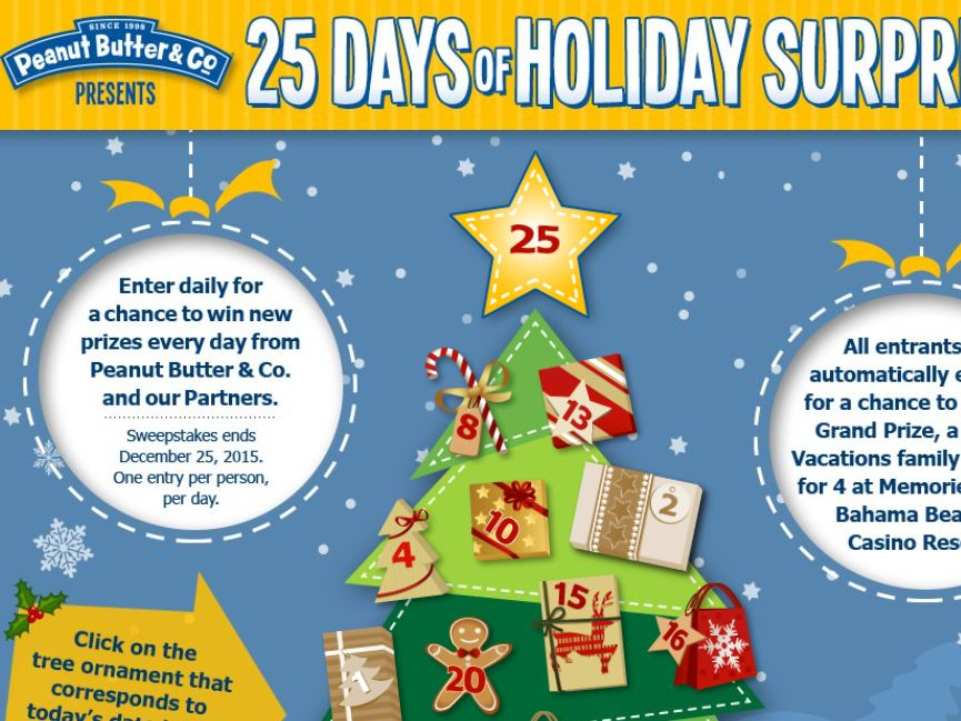 The Peanut Butter & Co. 25 Days of Holiday Surprises Sweepstakes