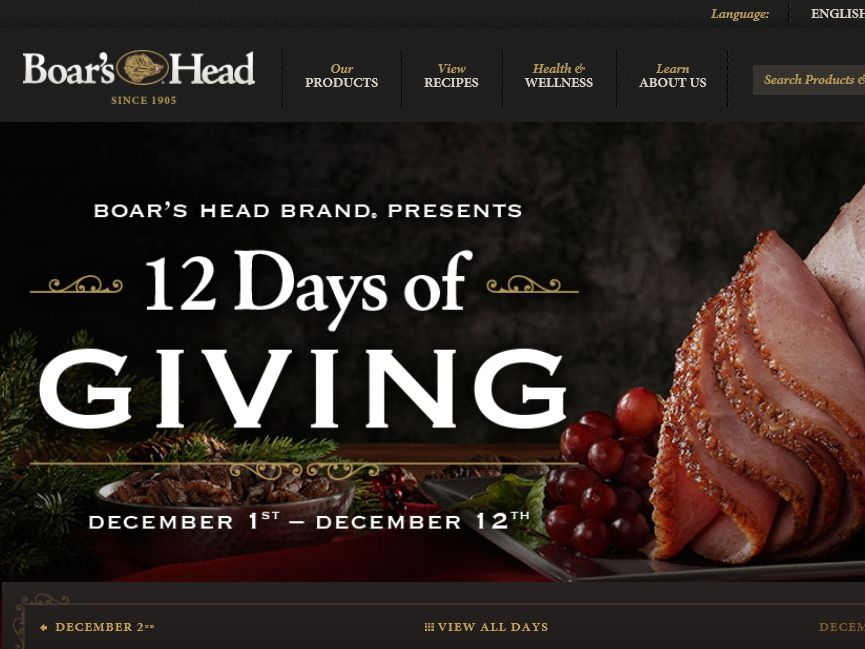 "Boar's Head ""12 Days of Giving"" Sweepstakes"