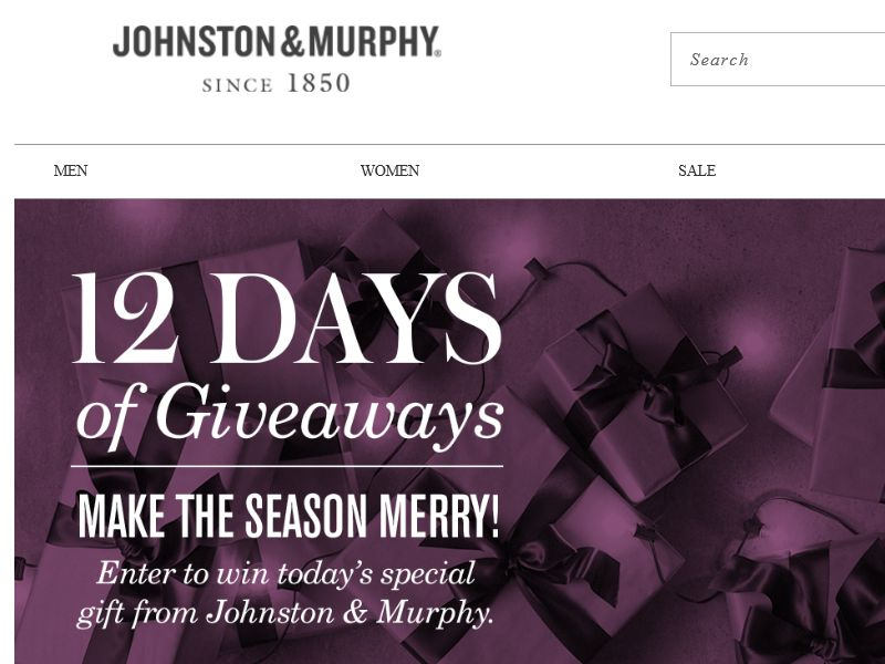 Johnston & Murphy's 12 Days of Giveaways Sweepstakes