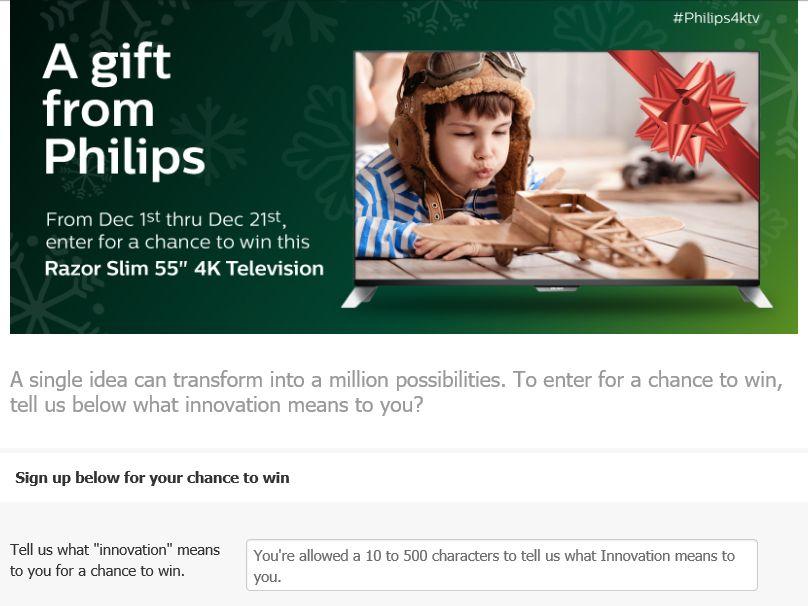 Philips TV – P&F USA, Inc. 2015 Holiday Sweepstakes
