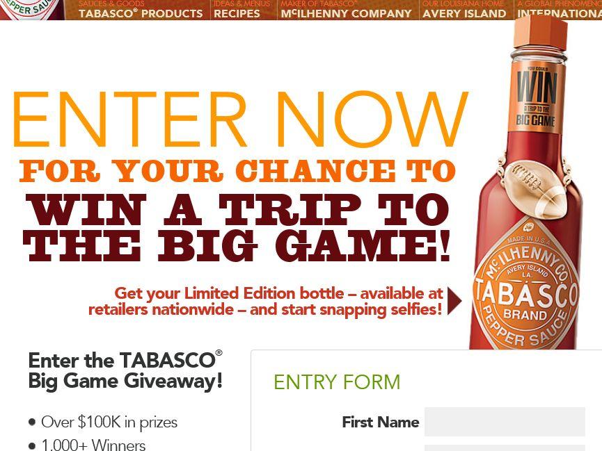 The TABASCO Big Game Giveaway Sweepstakes