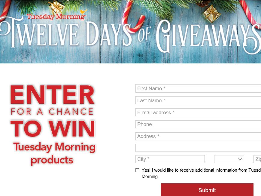 The Tuesday Morning 12 Days of Giveaways Sweepstakes