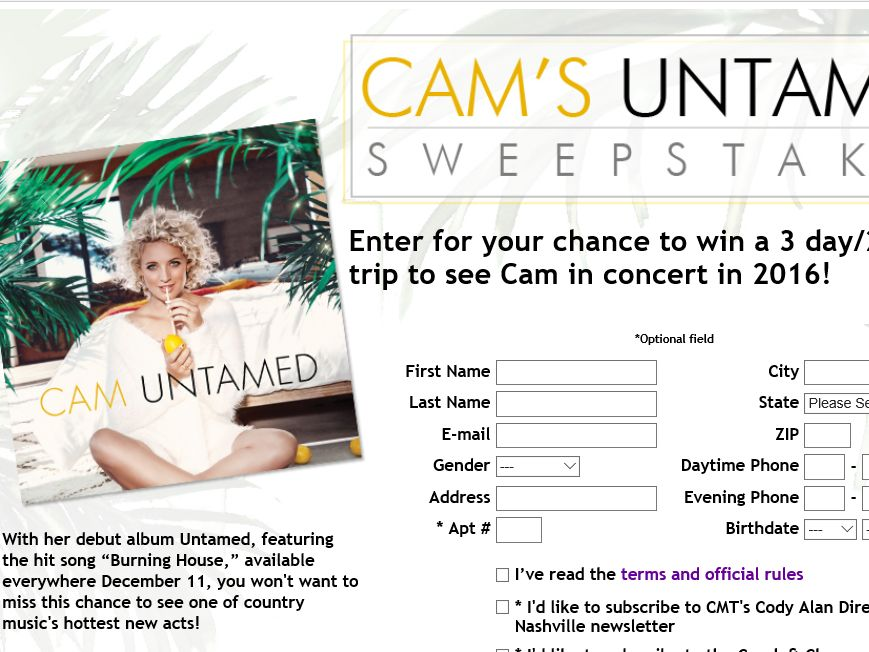 Cam's Untamed Sweepstakes