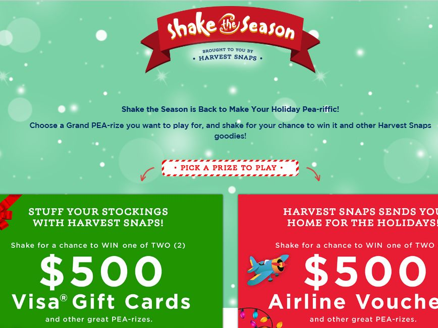 Harvest Snaps Shake the Season Sweepstakes