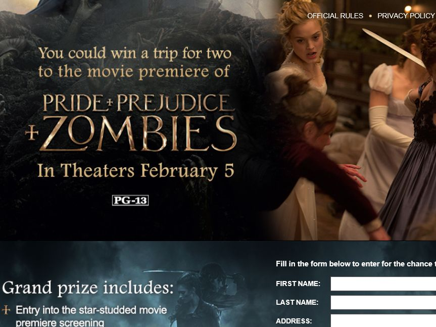 Marie Claire Pride and Prejudice and Zombies Sweepstakes